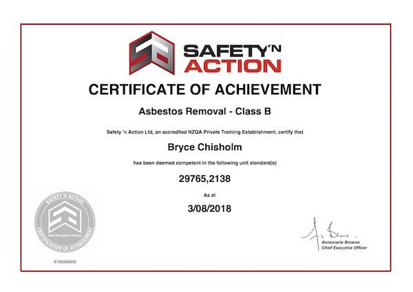 Bryce Chisholm - Class B asbestos removal